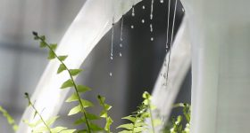 Details of sprinkling water from the BANYAN ECO WALL by BigRep. Image via BigRep.