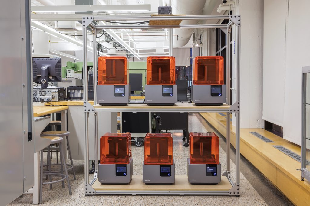 A Formlabs Form 2 3D printer farm. Photo via WeWork