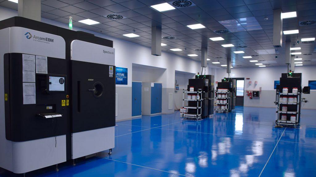 Arcam machines at the Avio Aero, a GE Aviation company, additive manufacturing factory in Cameri, Italy. Photo via Avio Aero.