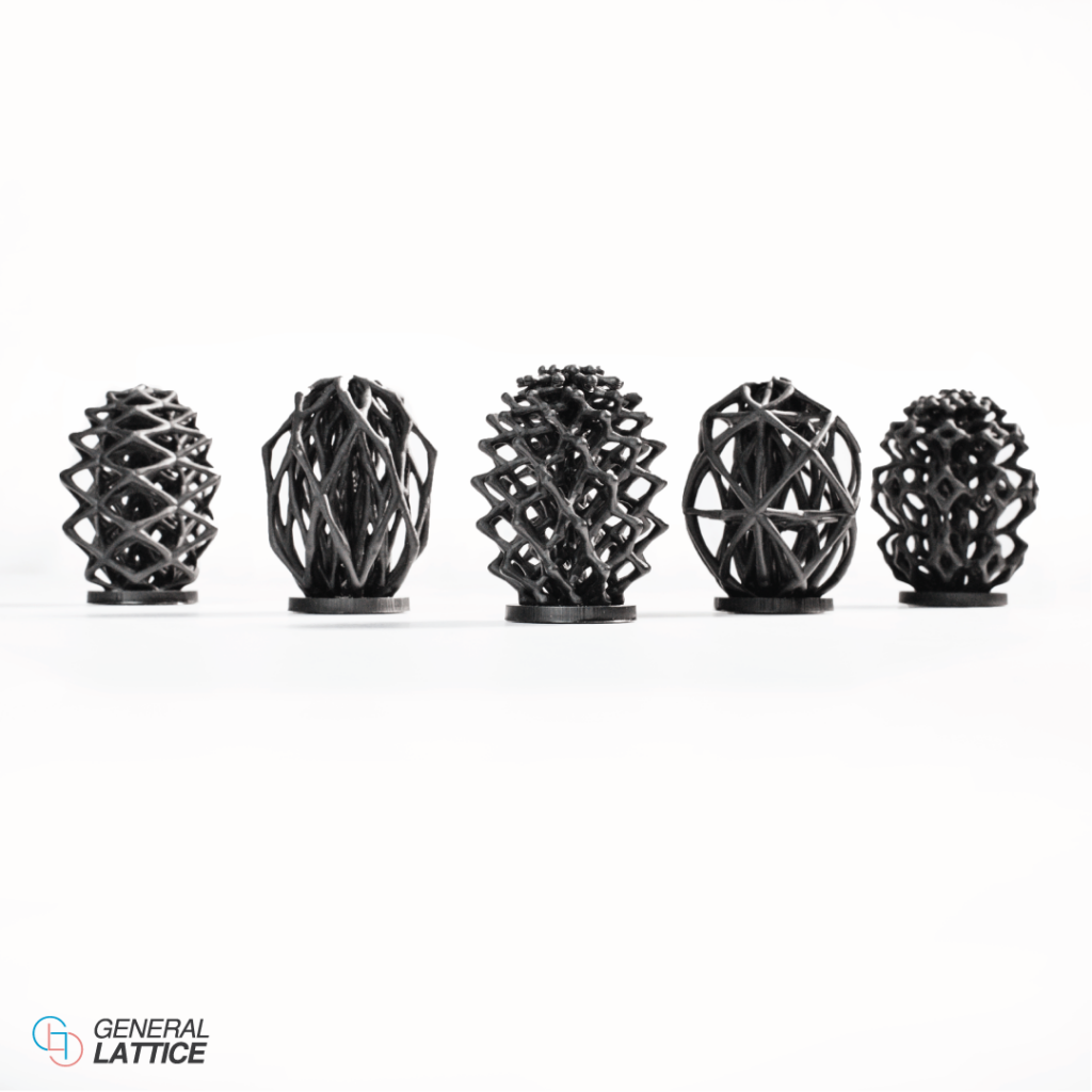 3D printed lattice structures created by General Lattice. Photo via General Lattice