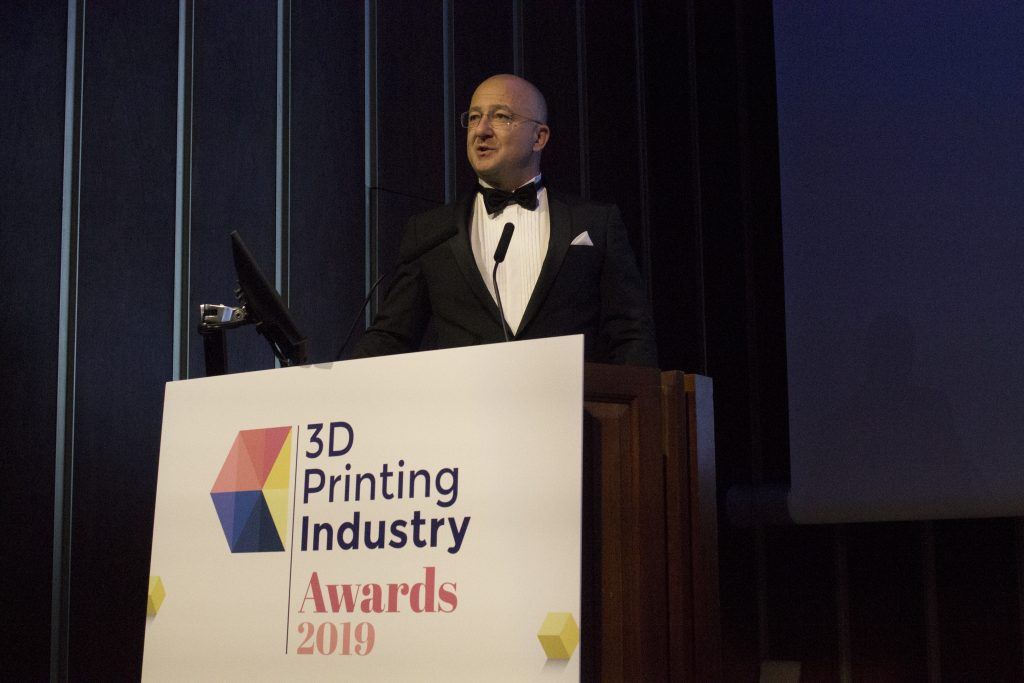 Alexander Sakratidis, Sales & Marketing Manager, Digital Metal AB, accepts the award for 2019 Innovation of the Year. This year, the trophy was awarded for Digital Metal's precision 3D metal printing technology. Photo by Felix Li for 3D Printing Industry