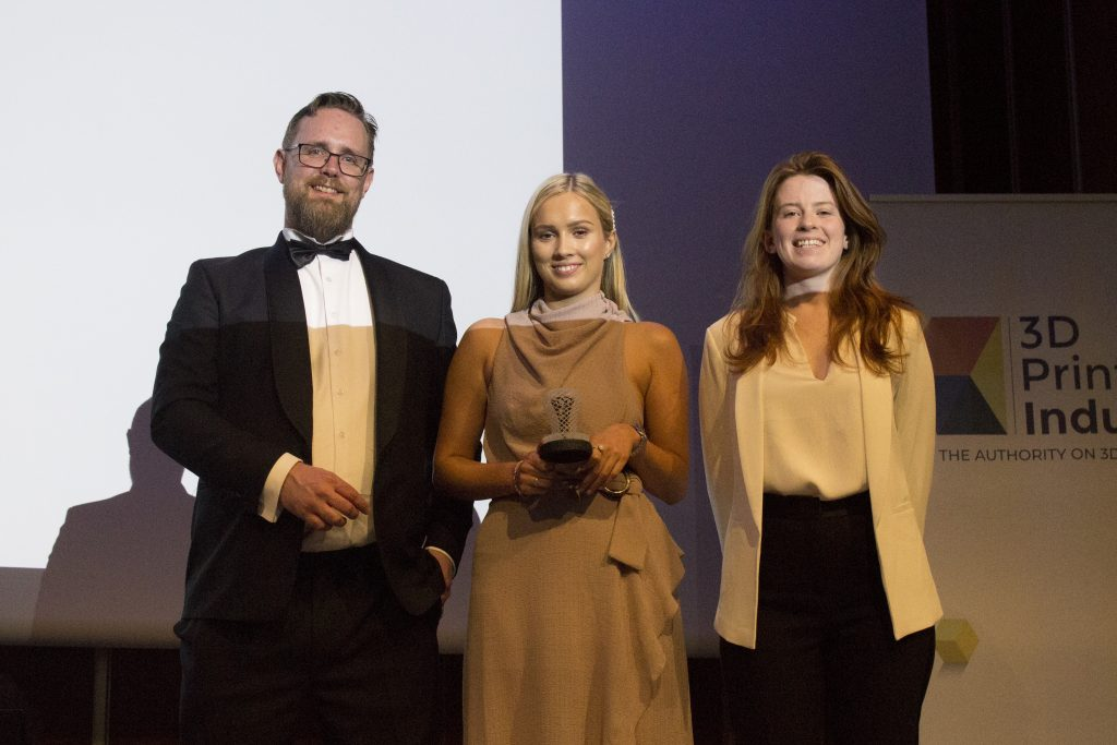Leah Melling, Marketing Manager 3DGBIRE, accepts her company's award for 2019 Value Added Reseller of the Year. Photo by Felix Li for 3D Printing Industry