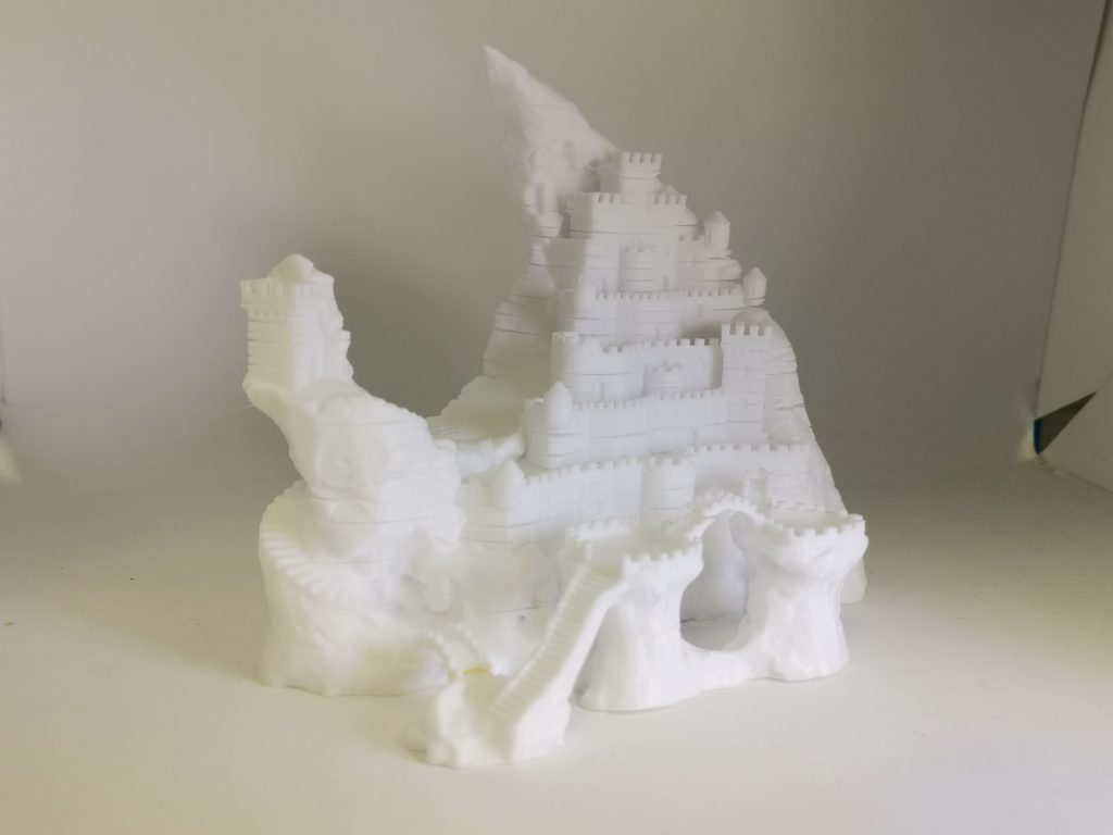 Test print of a PC Fortress showing delamination in layers of the print.