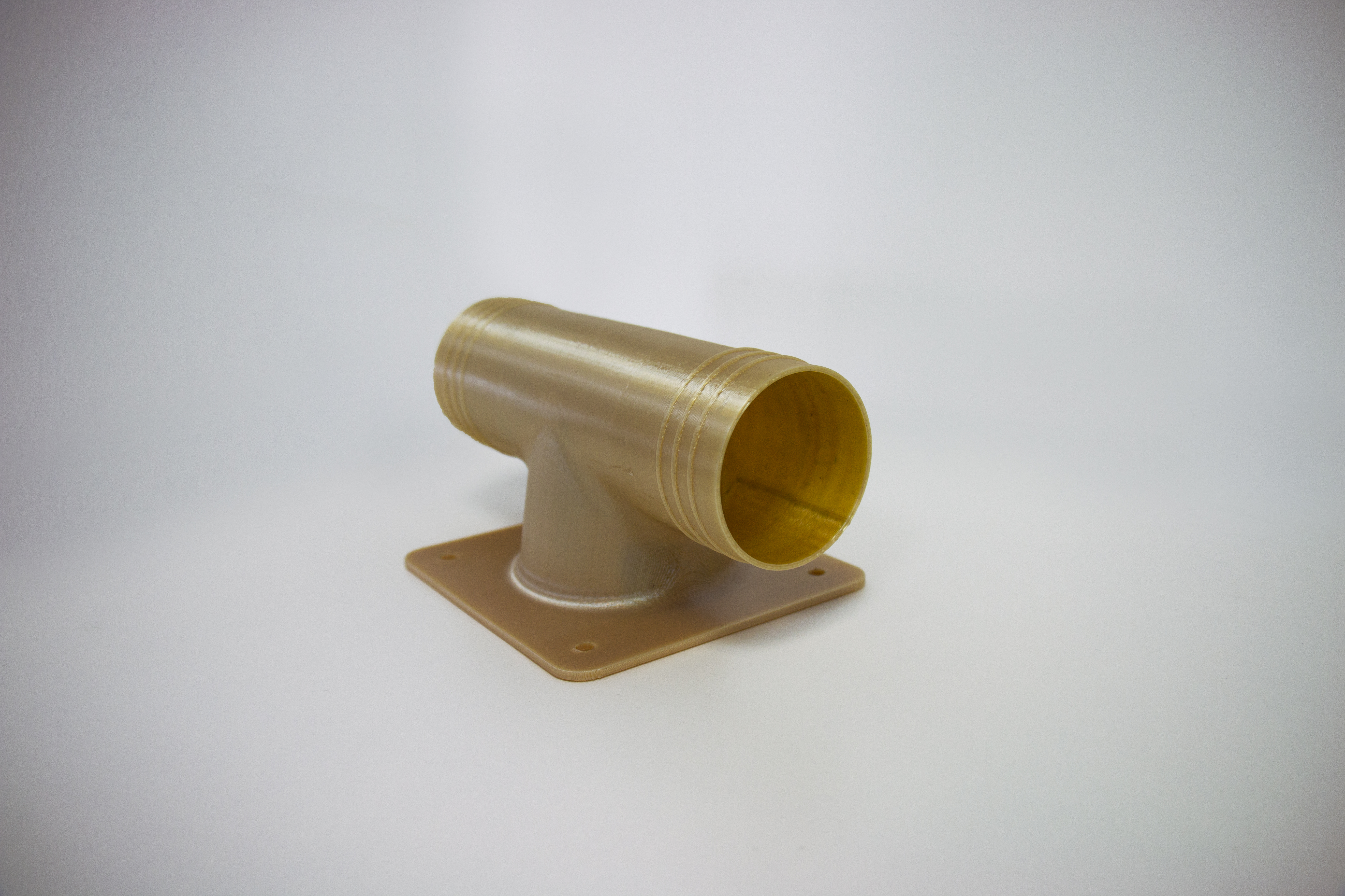 Flight approved 3D printed air duct for air conditioning. Image via Stratasys.