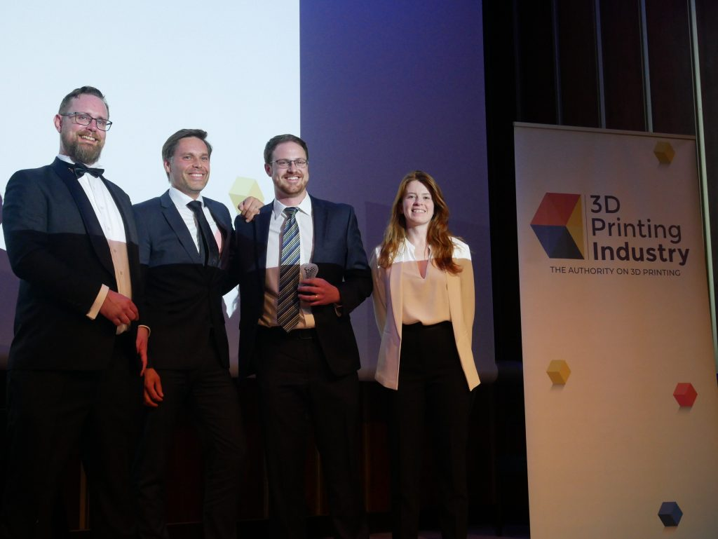 From left to right: Michael Petch, Editor in Chief, 3D Printing Industry, Arno Held, Chief Venture Office at AM Ventures, Kevin Eckes R&D/Applications Engineer at 2019 Startup of the Year Aerosint, and Beau Jacskon, Senior Journalist, 3D Printing Industry. Photo by 3D Printing Industry