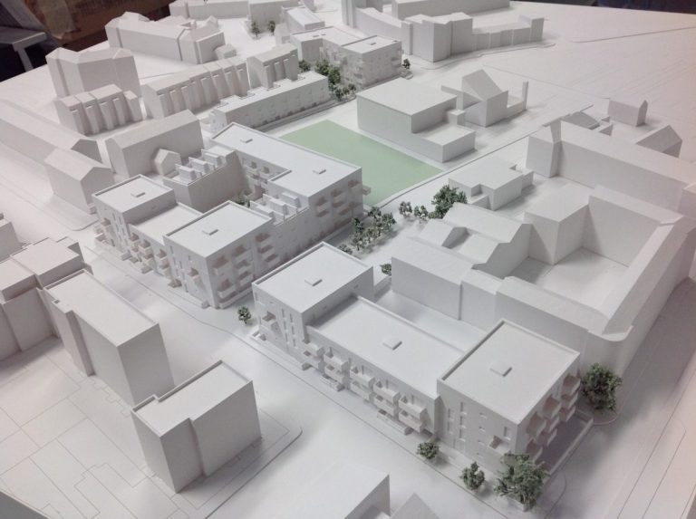 An architectural model 3D printed with an SLA machine, a service offered by 3DCompare. Image via 3DCompare.