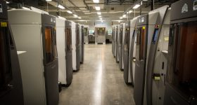 An SLA 3D printing facility at Protolabs. Photo via Protolabs.