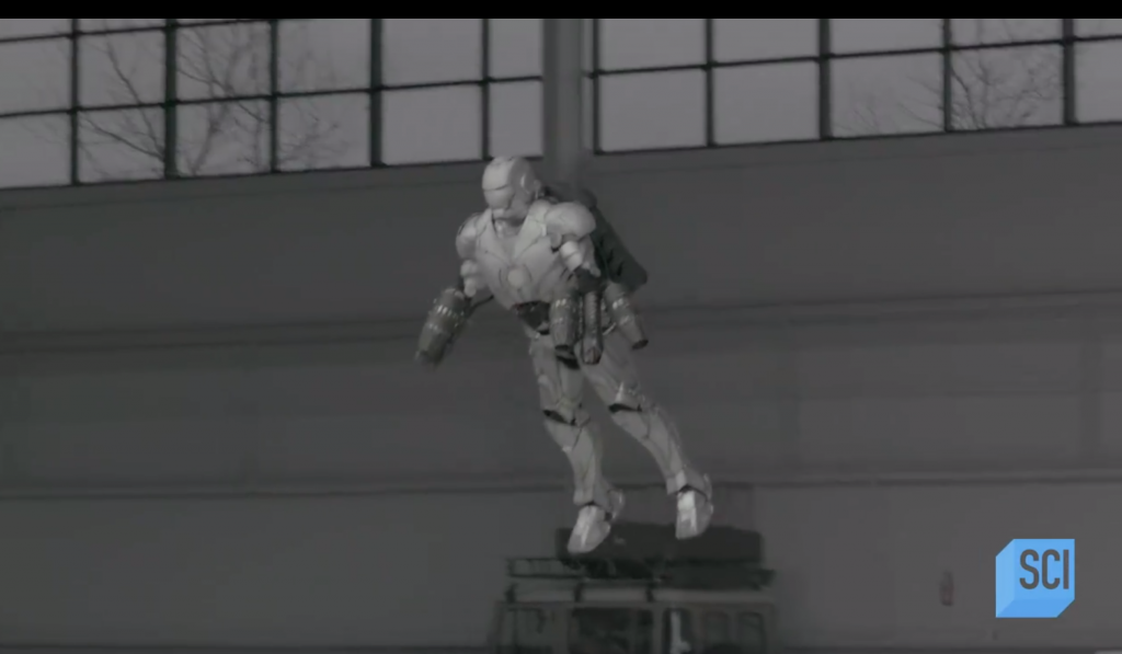 Sneak peek flight demo of Savage's 3D printed Iron Man suit from Savage Builds. Screengrab via Science Channel