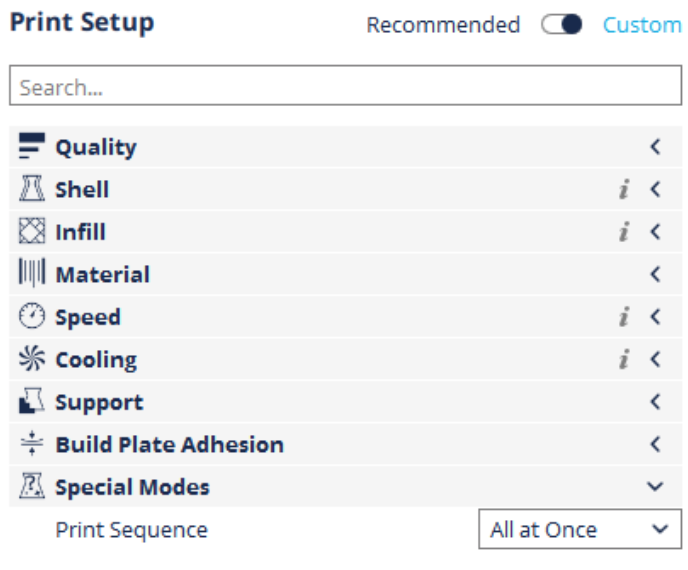 Dremel Digilab Slicer advanced settings categories.