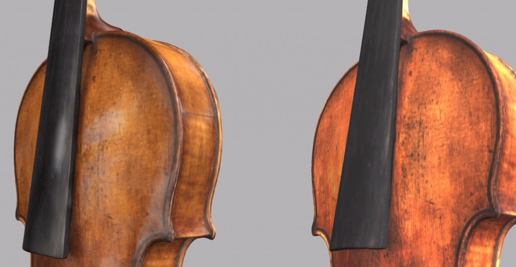 3D scanned model of a violin, pre (left) and post (right) Automatic Glare removal in Artec Studio 14. Image via Artec 3D.