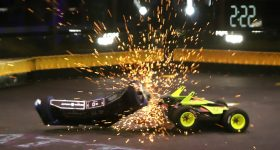 Valkyrie and Hypershock facing off in an exciting fight in the first episode of BattleBots 2019. Photo via BattleBots.