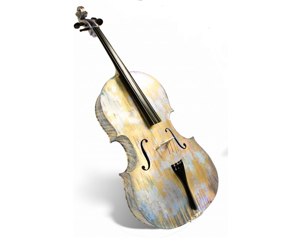 Maddie Frank's 3D printed cello. Photo via AMUG