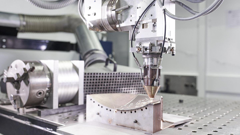 The Laser Metal Deposition (LMD) process. Photo via TRUMPF.