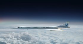 A rendering of the Overture supersonic aircraft from Boom Supersonic. Image via Boom Supersonic.