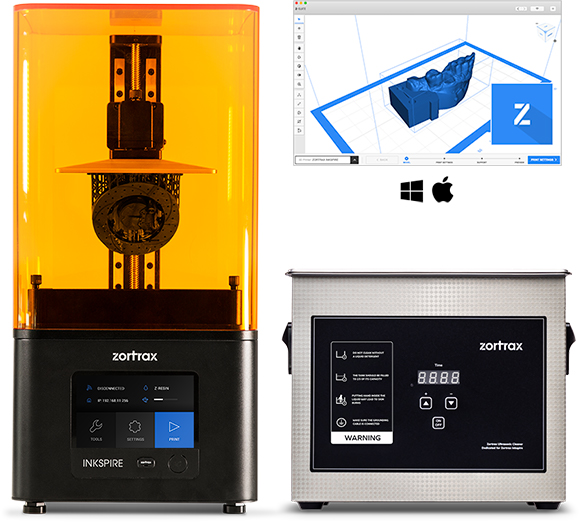 Zortrax Inkspire UV LCD 3D printer with Zortrax Ultrasonic Cleaner for post-processing. Image via Zortrax.