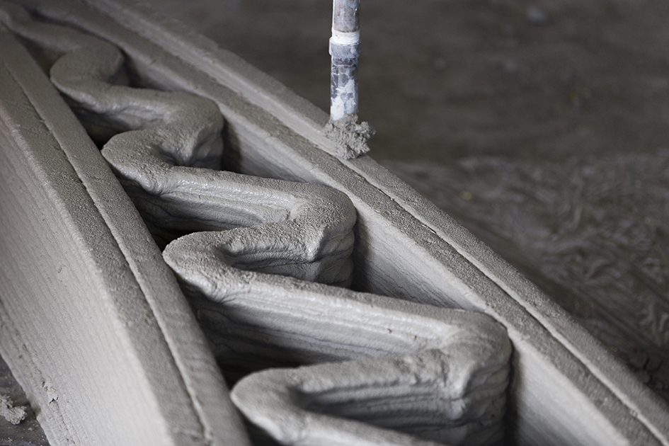 A section of 3D printed concrete.Photo via CyBe Construction.