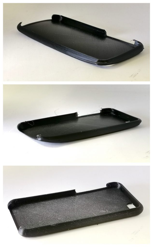 From top to bottom: first, second and third test prints of a Nylon phone case.