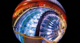 Sandia National Laboratories' Particle Beam Fusion Accelerator II seen through a fisheye lens. Photo via Sandia National Laboratories