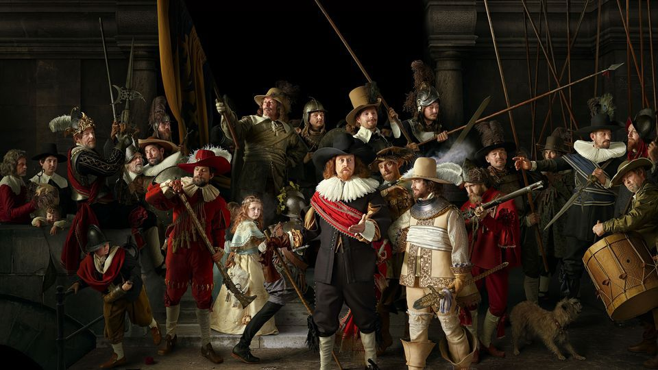The Nachtwacht 360 recreation of Rembramdt's The Night Watch painting. Image via Nachtwacht 360.