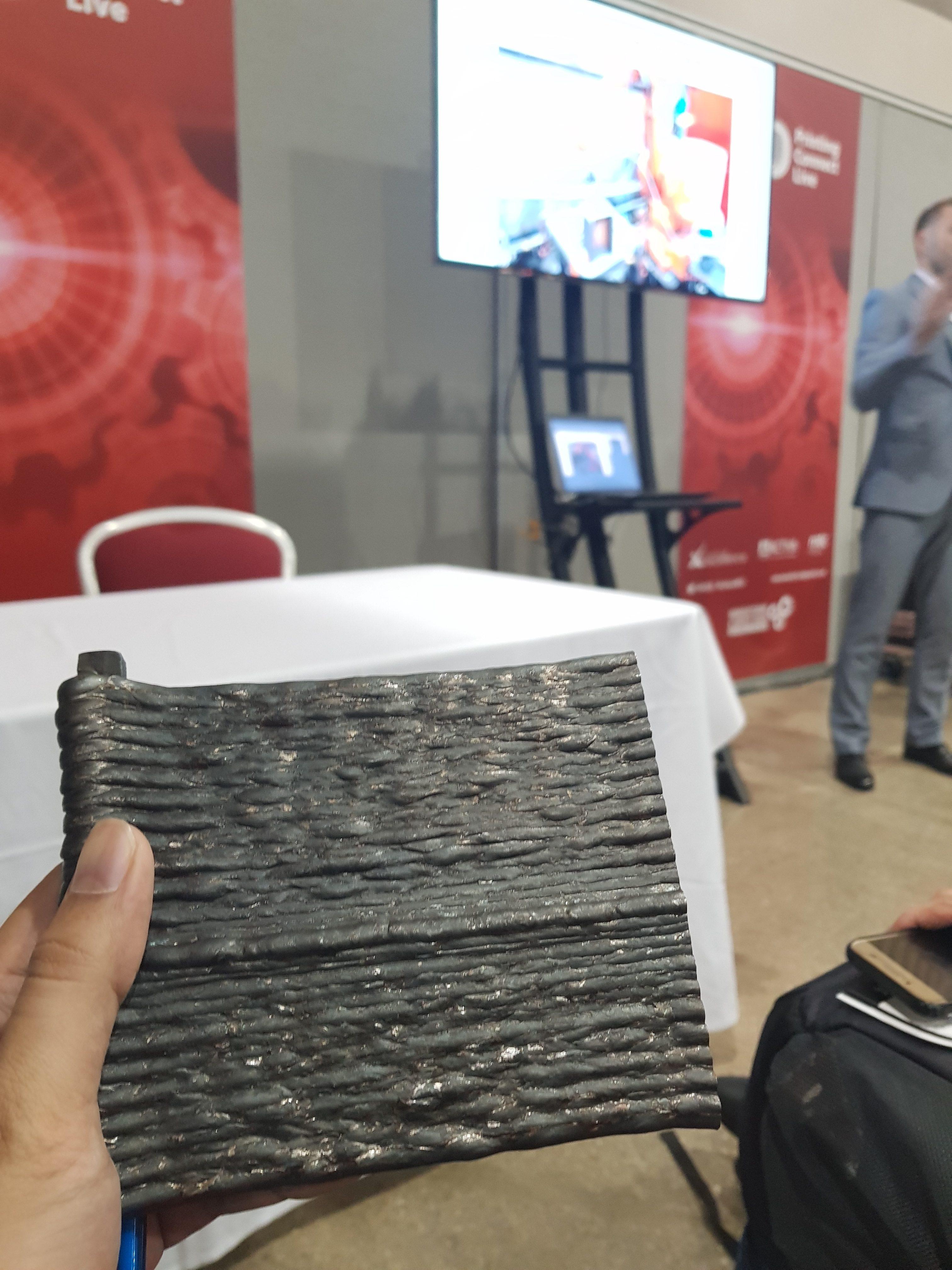 A steel plate by Steelo, 3D printed with a WAAM robot. Photo via Umair Iftikhar.