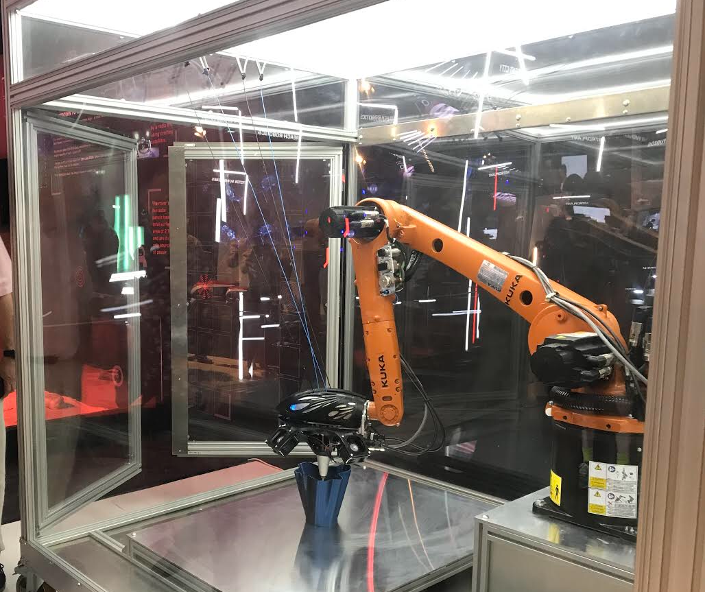 Ai Maker inside an AiCell at the Future Lab. Image via Ai Build.