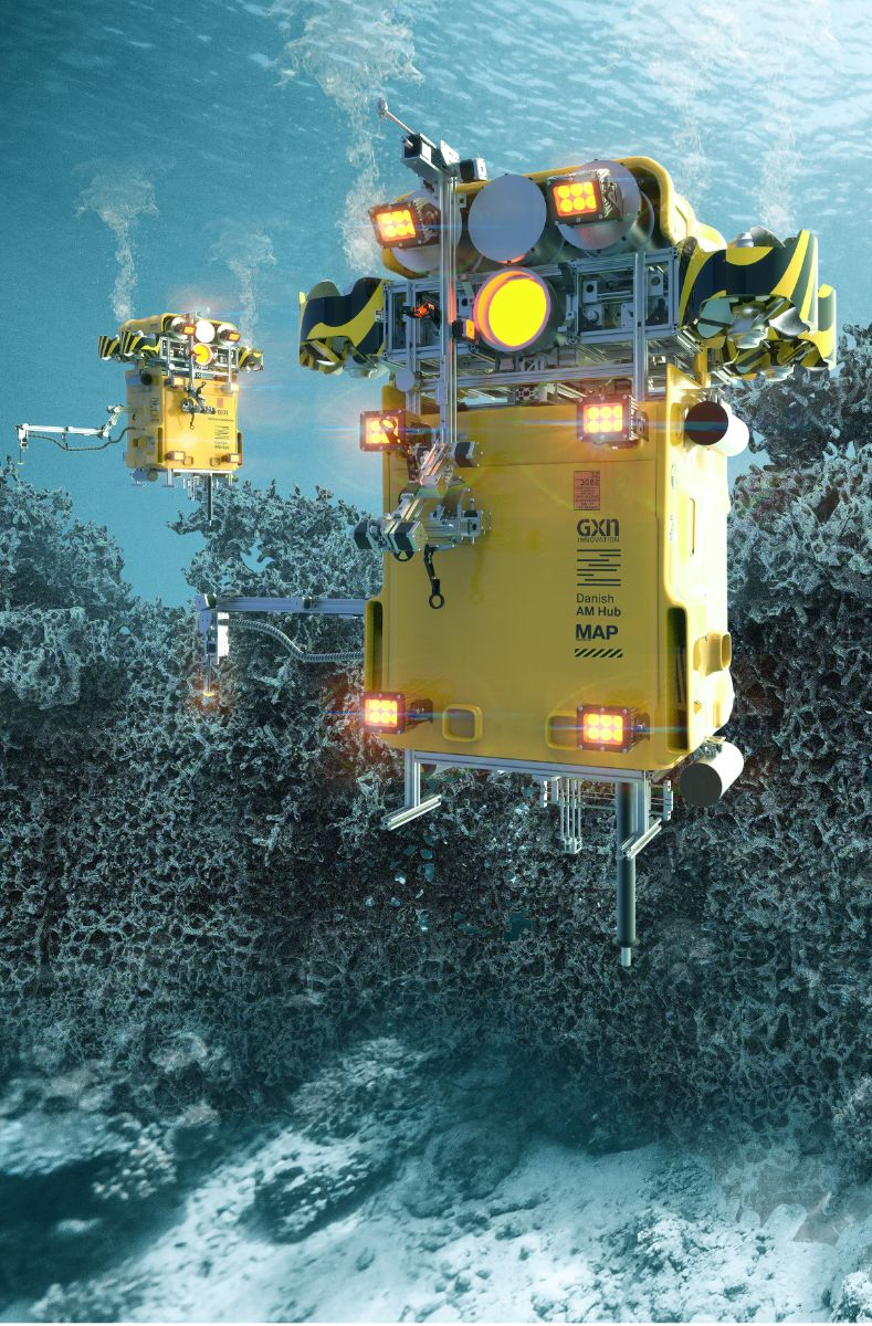 Digital rendering of the underwater 3D printing ROVs. Image via 3XN.