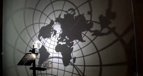 A 3D printed art globe llustrating stereographic projection. Photo via Henry Segerman, David Bachman, and IMAGINARY.