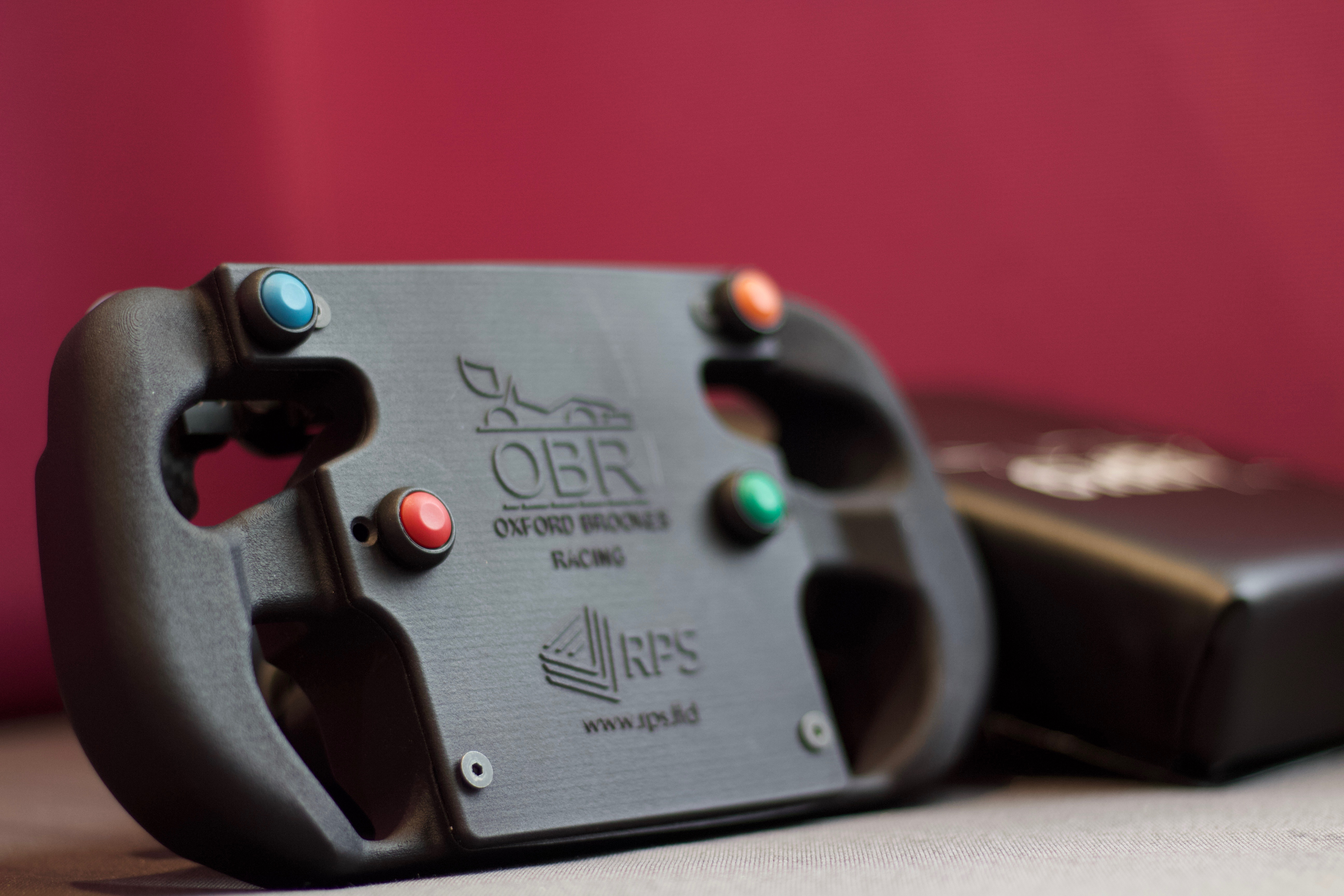 OBR19 steering wheel design iterated with 3D printing. Photo via RPS.