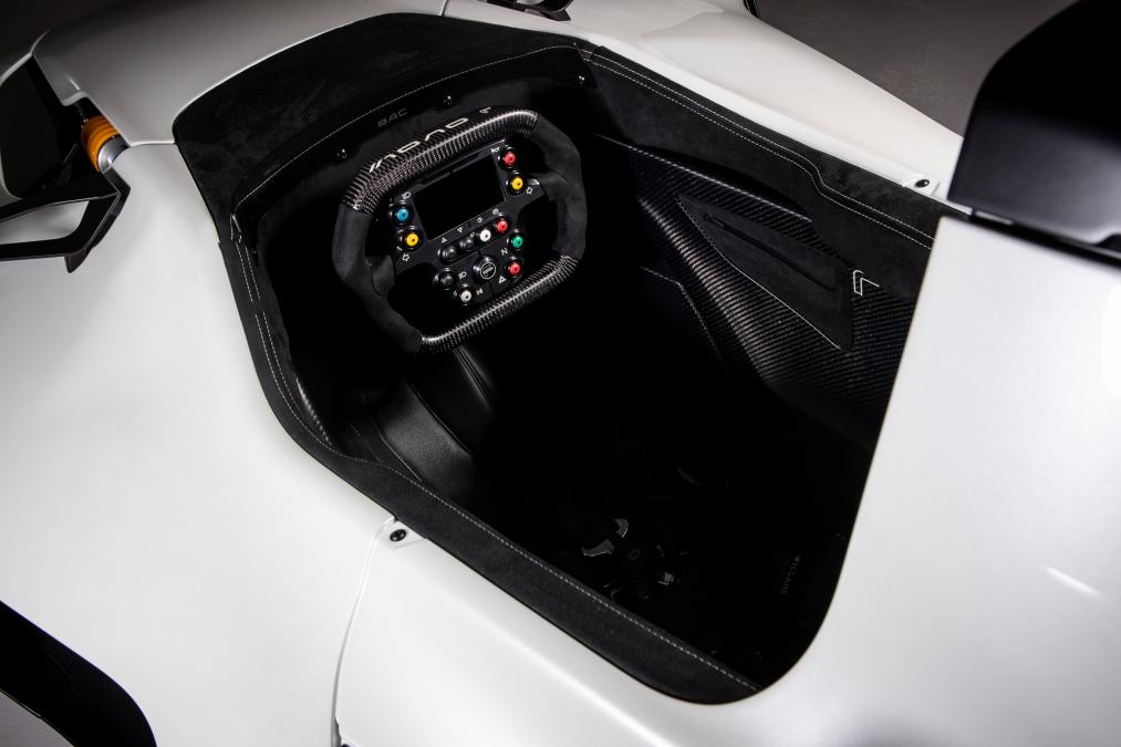 The 3D printed steering wheel grip of the Mono R. Photo via BAC.