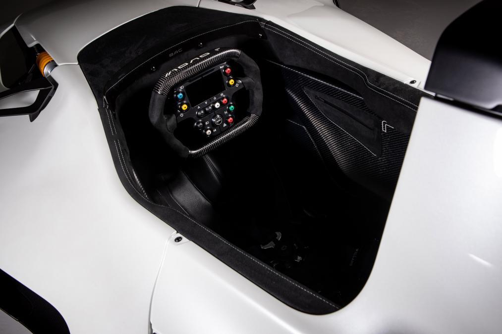The 3D printed steering wheel grip of the Mono R. Photo via BAC.