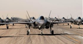 A formation of F-35 aircrafts. Photo via Lockheed Martin.