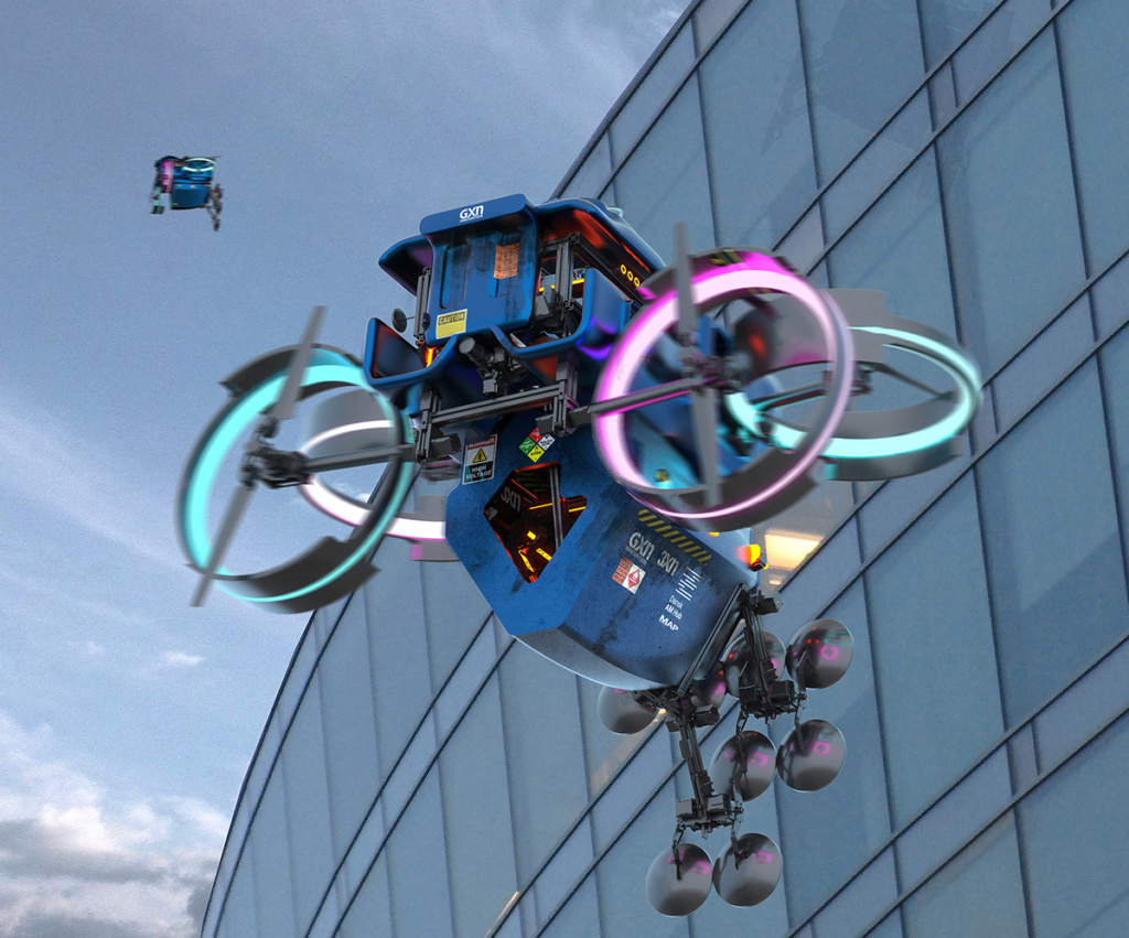 A drone-based 3D printing system. Image via GXN.