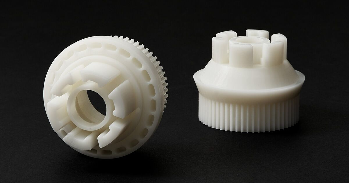 Accura Xtreme 200 3D printed gears. Photo via Shapeways.