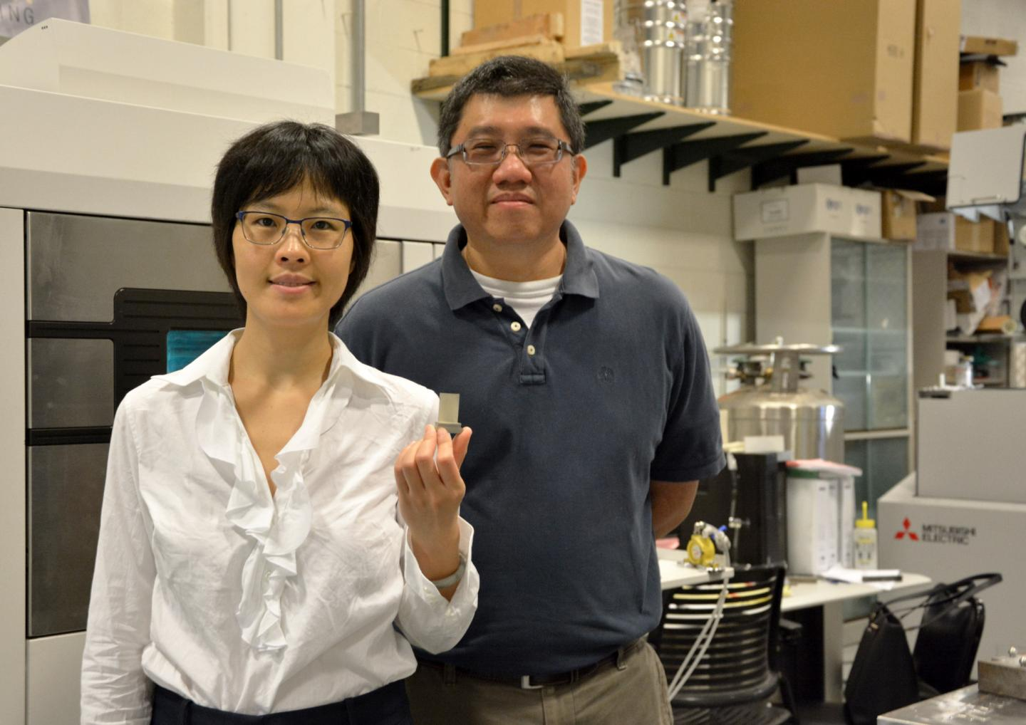 Xiayun Zhao, PhD, assistant professor of mechanical engineering and materials science, (left) and Albert To, PhD, associate professor of mechanical engineering and materials science. Photo via University of Pittsburgh.