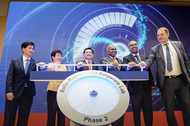 Officials opening Phase II of the Rolls-Royce@NTU Corporate Laboratory. Photo via NTU Singapore
