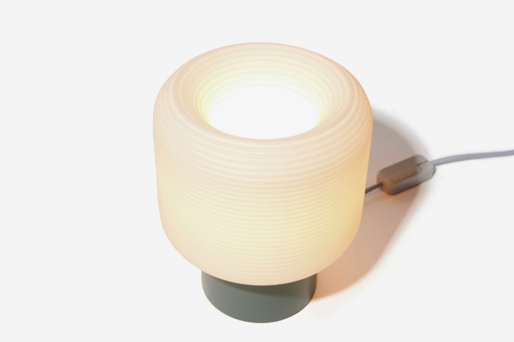 Example of a 3D printed lamp offered on Gantri. Design: Maskor Table Light by Muka Design Lab, Spain. Photo via Gantri
