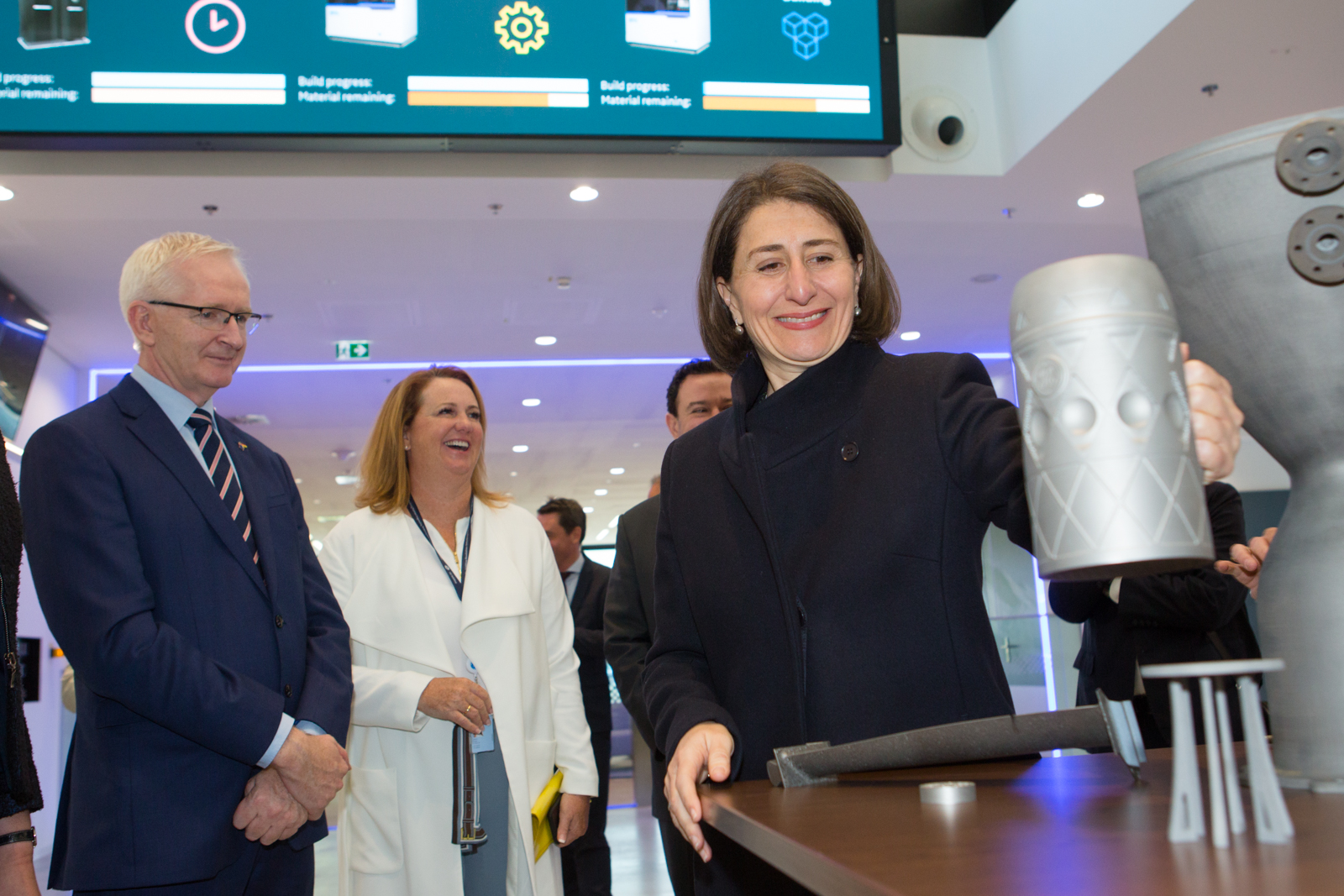 NSW Government Premier Gladys Berejiklian tours GE Additive's CEC Munich as part of an MoU signing ceremony. Photo via GE Additive.