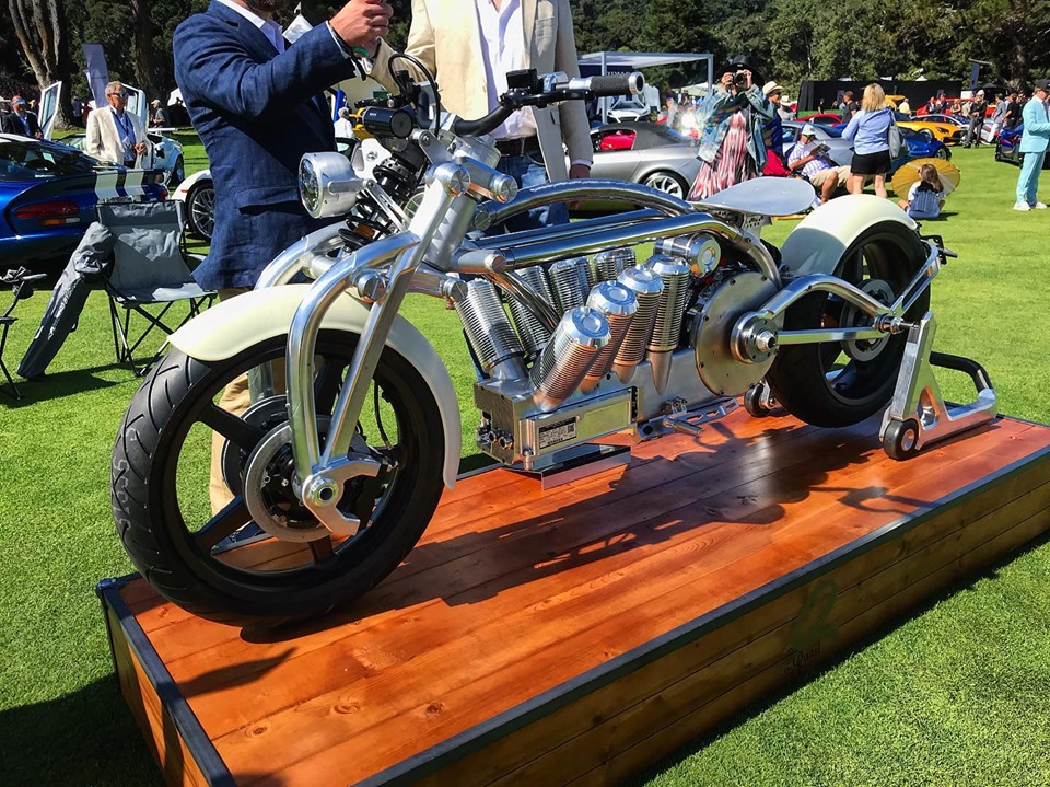 The Zeus 8 prototype on show at the 2019 Quail Motorsports Gathering in Carmel. Photo via Curtiss Motorcycle Company