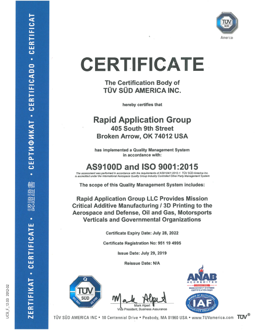 Rapid Application Groups AS9100 certificate. Photo via Rapid Application Group Rapid Application Groups AS9100 certificate. Photo via Rapid Application Group