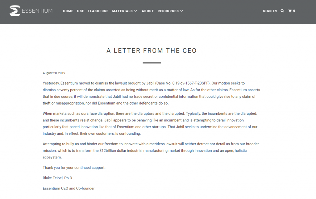 Letter from Essentium CEO Blake Teipel following the company's motion to dismiss 70 percent of claims made against it by Jabil. Image via Essentium