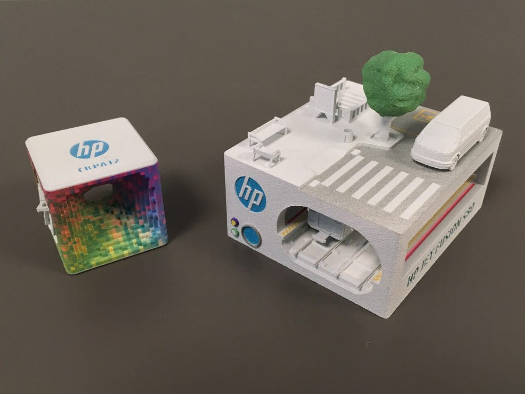 Detailed, full color 3D prints from the HP Jet Fusion 300/500 series. Photo via HP
