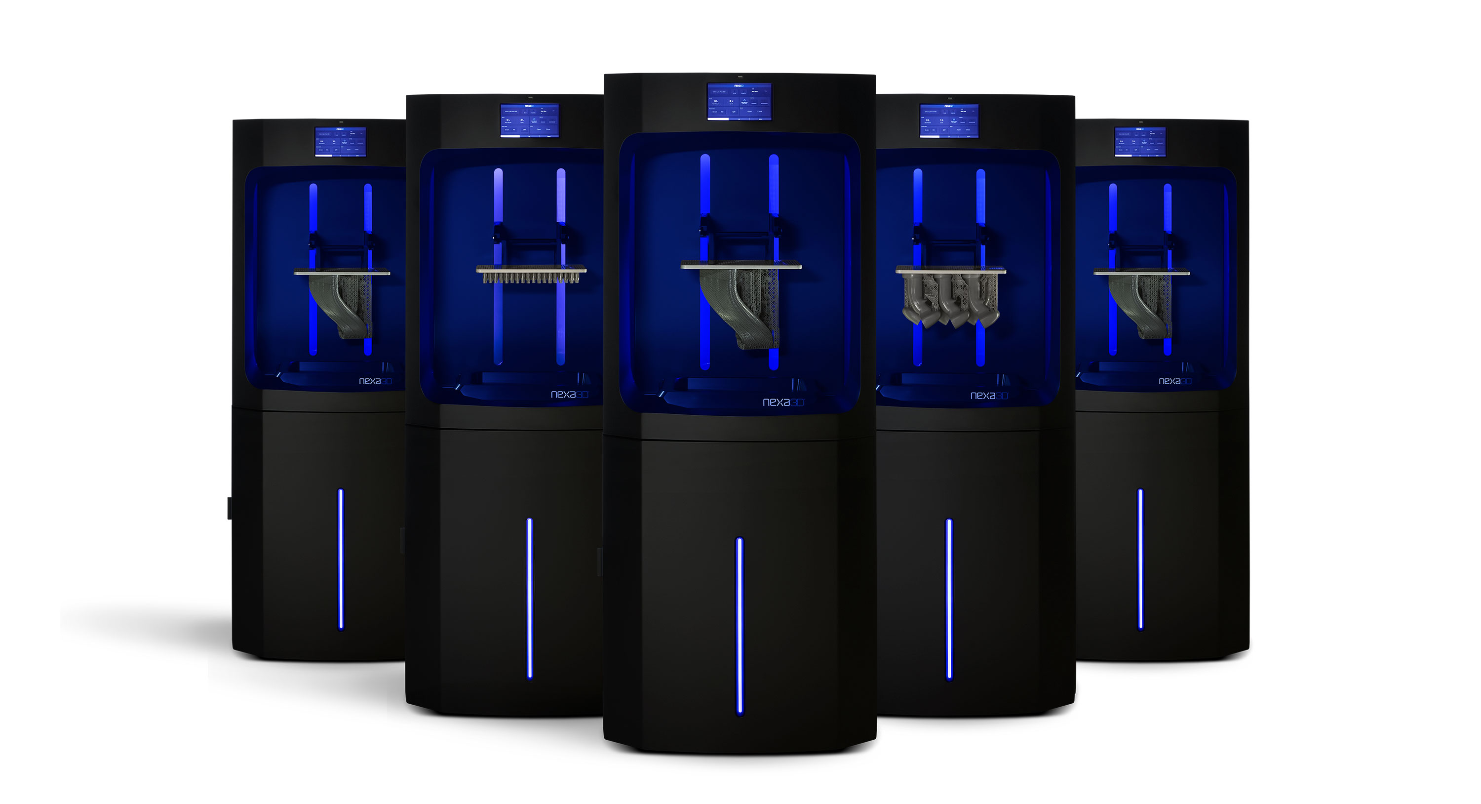 A group of NXE400 3D printers. Photo via Nexa3D.