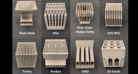 Entries to the GE sponsored heat-sink design competition. Image via Purdue University