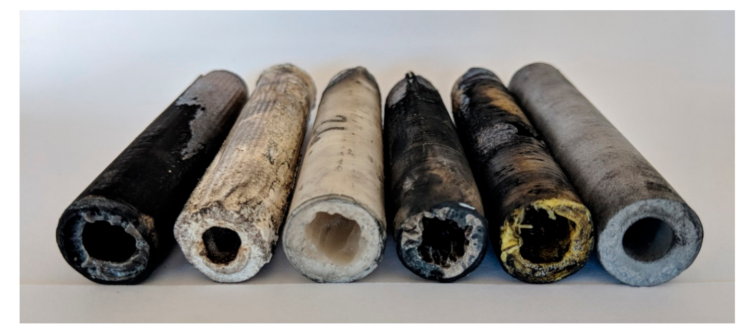 Combustion port comparisons, left to right: ABS, PLA, PP, ASA, PTEG, and AL. Photo via JCU.