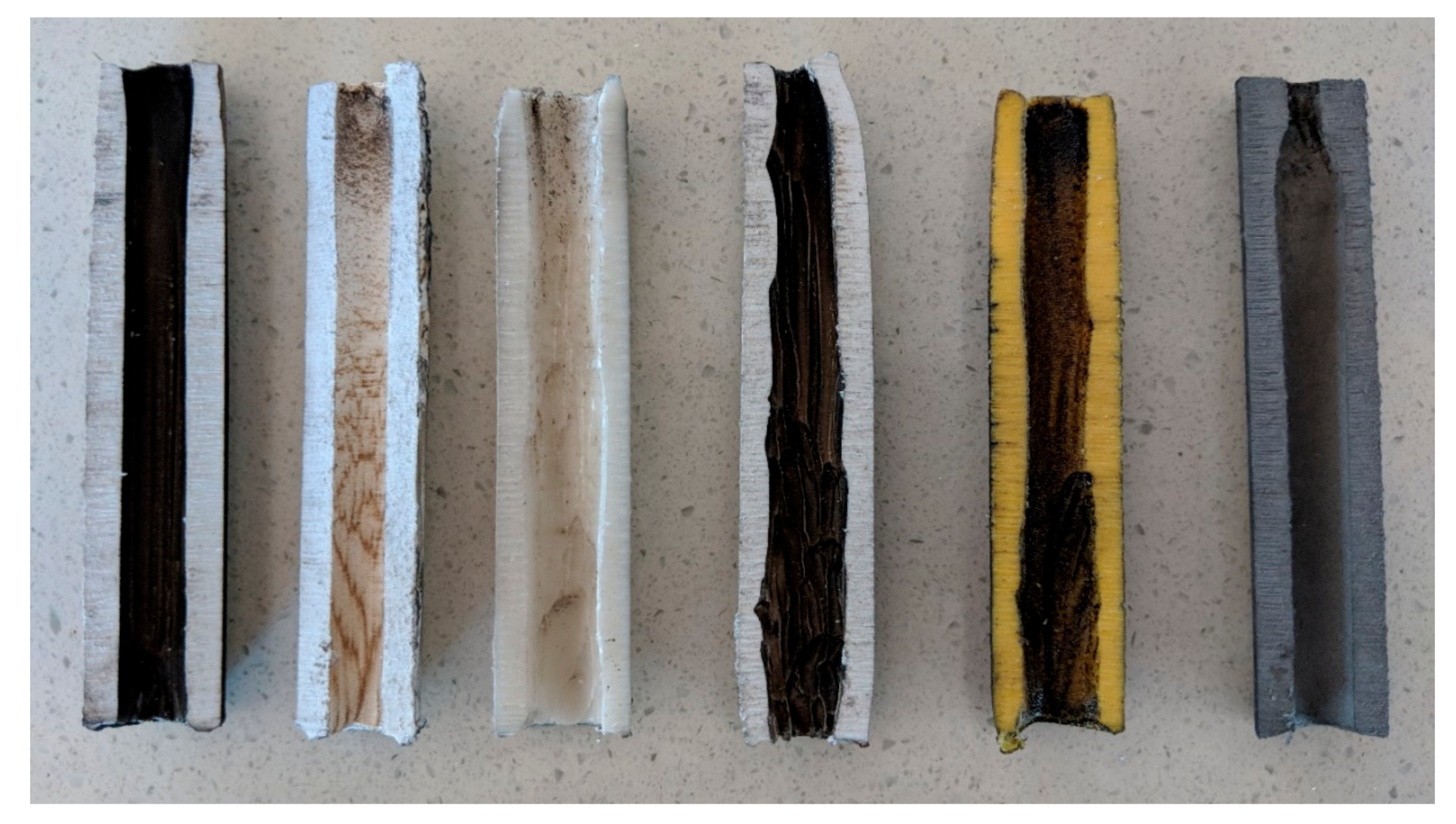 Cross section of each different small-scale fuel grain, left to right: ABS, PLA, PP, ASA, PTEG, and AL. Photo via JCU.