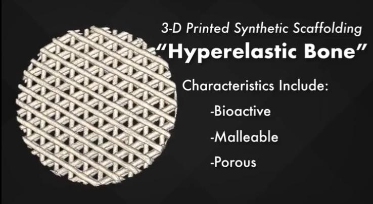 The 3D printed Hyperelastic Bone scaffold. Image via UIC/Northwestern University.