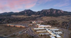 Aerial photograph of NIST, NOAA, and NTIA research facilities in Boulder, Colorado. Photo via NIST