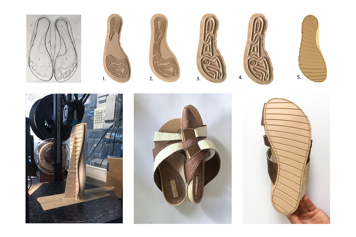 Designing and 3D printing of the outsoles. Photo by Lucie Trejtnarová.