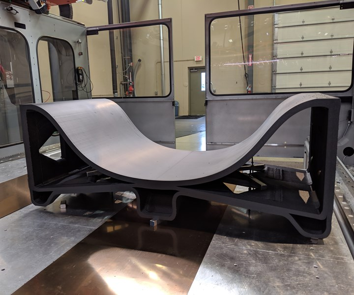 A section of a 3D printed fuselage skin. Photo via Thermwood.