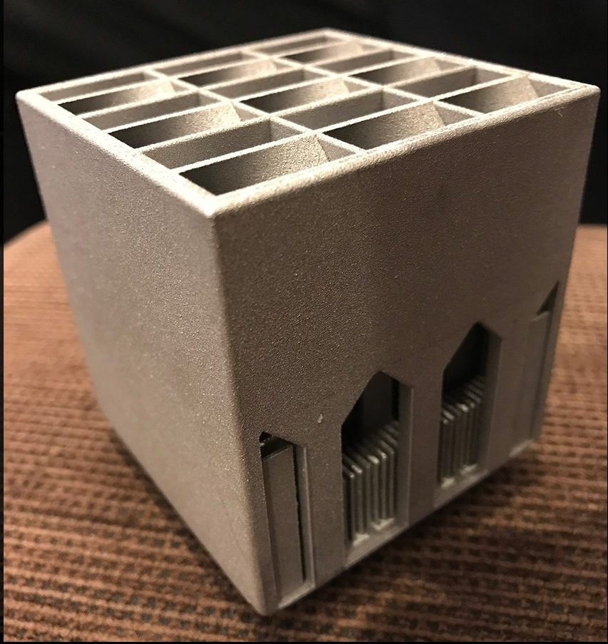 A 3D printed aluminum heat sink designed by ASU students Faizan Ejaz, Munku Kang and Gokul Chandrasekaran. Photo via Beomjin Kwon/ASU.